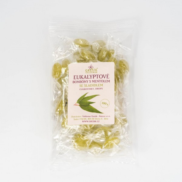 Eukalyptové cukríky s mentolom so sladidlom, 100 g