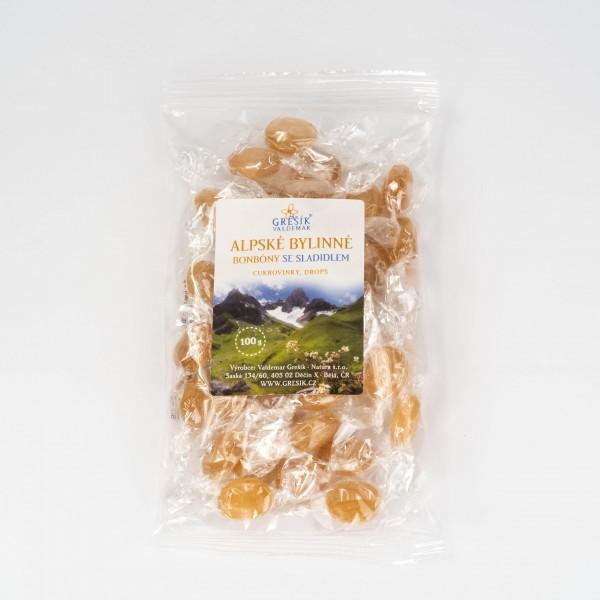 Alpské bylinné cukríky so sladidlom, 100 g